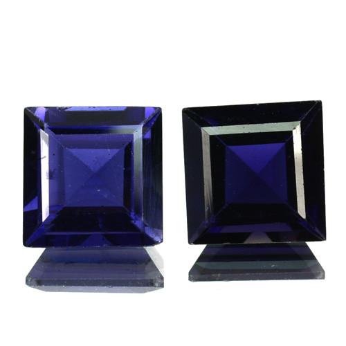 ~PAIR~ 4.28 Cts Natural Iolite Deep Blue 7.0 mm Square Cut Tanzania