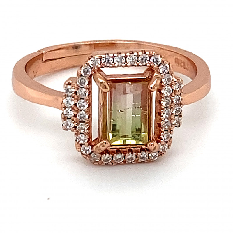 Watermelon Tourmaline 1.28ct,Rose Gold Plated,Solid Sterling Silver Ring