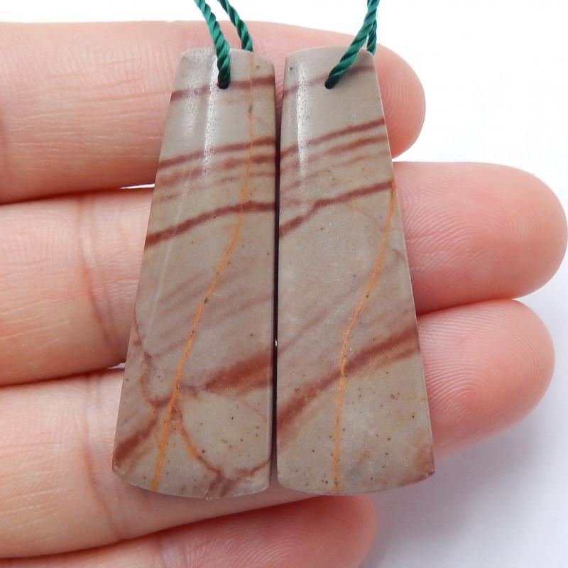 Healing Stone ,Red Picture Jasper Earrings ,Triangle Earrings, Wholesale B6