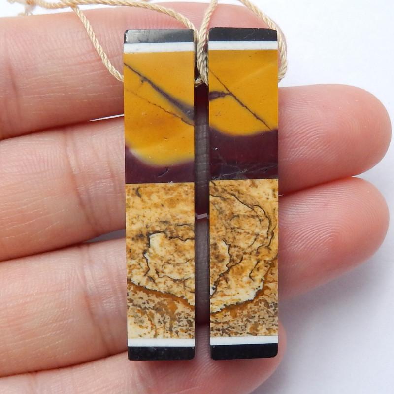 Multi Color Jasper , Obsidian Earrings ,Natural Gemstone ,Healing Stone B65