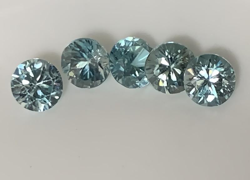 Premium gem parcel of Blue Zircon gems 4.20mm VVS 5 gems