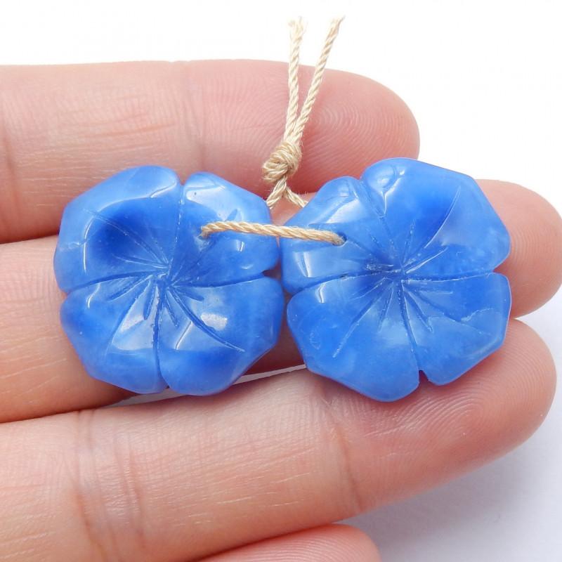 Blue Jasper Earrings ,Handmade Gemstone ,Flower Earrings ,Lucky Stone B707
