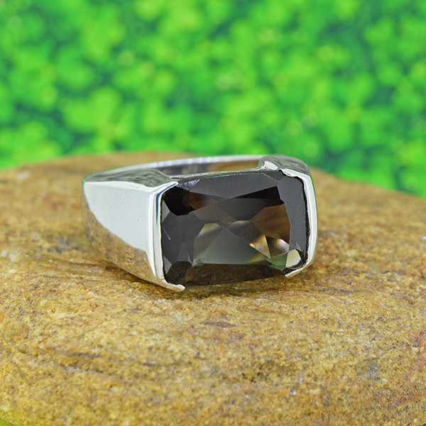 Natural Smoky Quartz Gents' 925 Sterling Silver Ring (SSR0196)