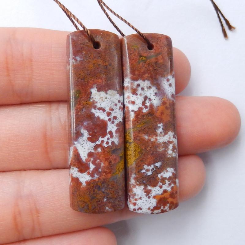 SemiPrecious Stones Natural Hole Earrings Ocean Jasper Earrings B730