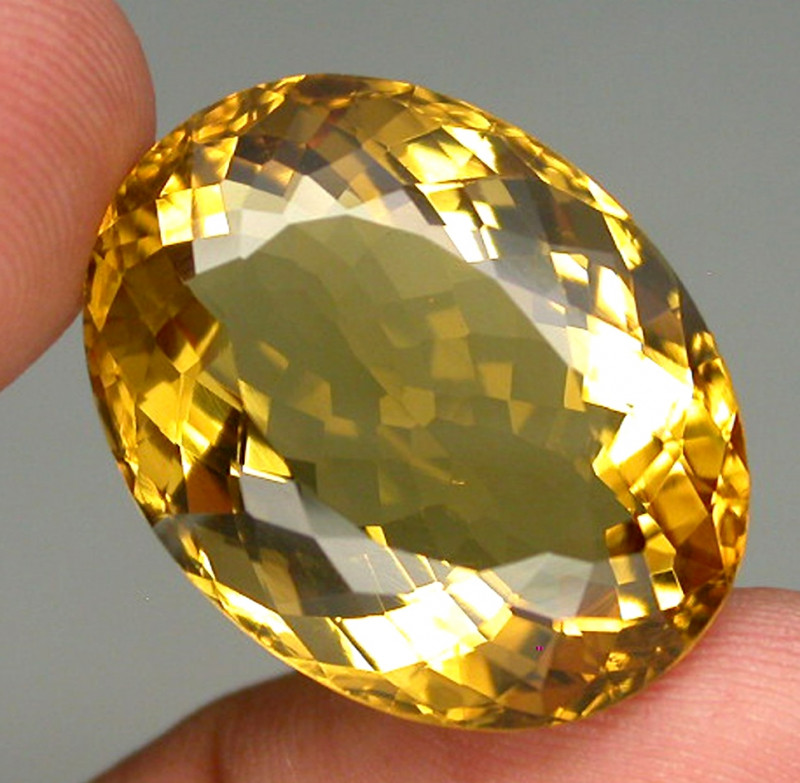 Clean Precious! 28.55 ct. 100% Natural Unheated Top Yellow Golden Citrine B