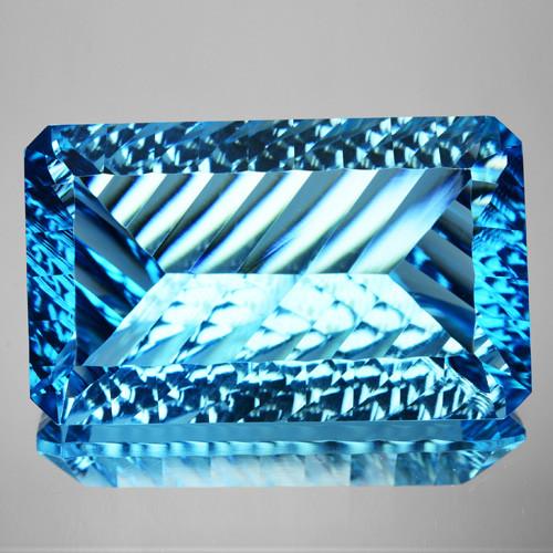 ~MILLENNIUM CUT~ 50.05 Cts Natural Sky Blue Topaz Octagon (Emerald Cut) Bra