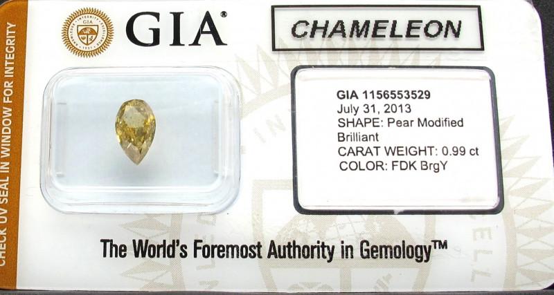 Natural CHAMELEON Fancy Dark Yellow Diamond GIA certified
