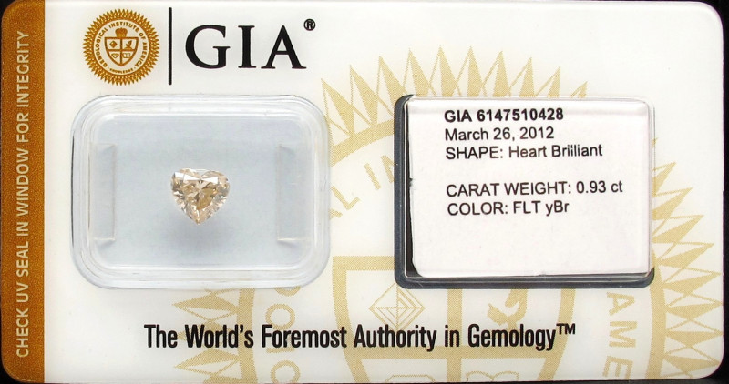 0.93ct Natural Fancy  Yellowish Brown  Diamond GIA certified