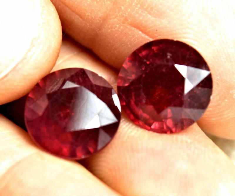 17.26 Carat 12mm Ruby Pair - Gorgeous