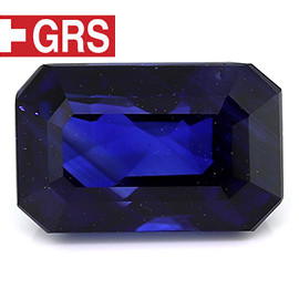 4.07 ct Emerald Cut Blue Sapphire  (Rich Royal Blue)