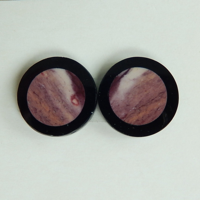 New Arrival,Round Cabochon Pair,Natural Obsidian and Mookite Intarsia Pair