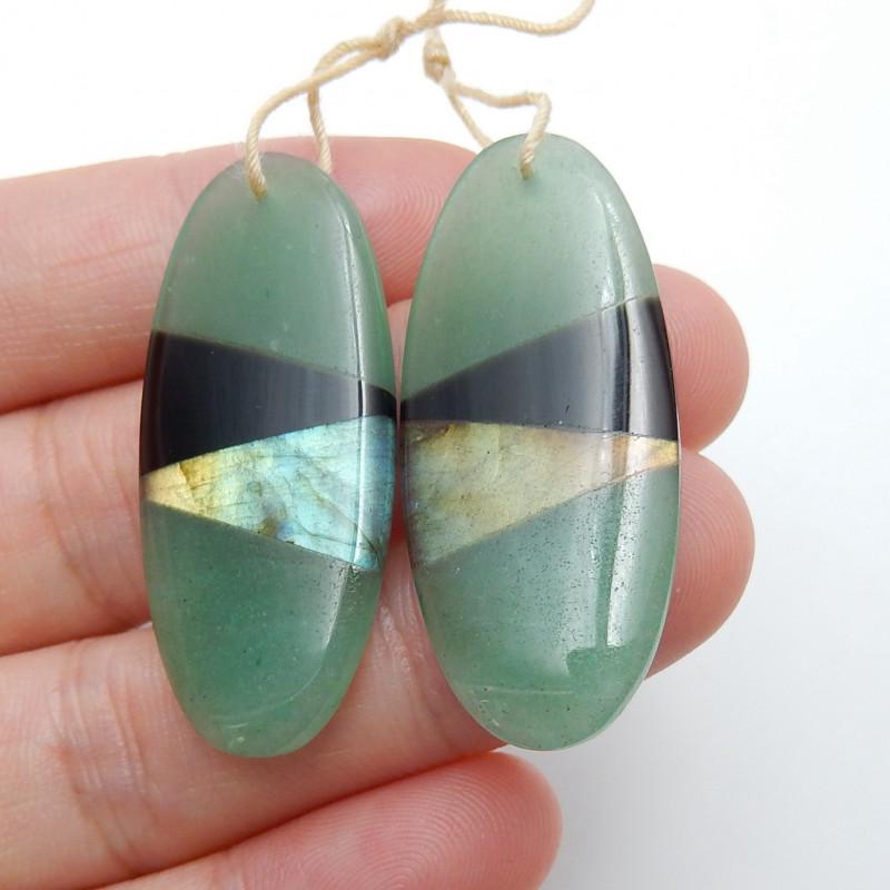 Amazonite ,Obsidian ,Labradorite Intarsia Earring Pairs ,Oval Earrings B857