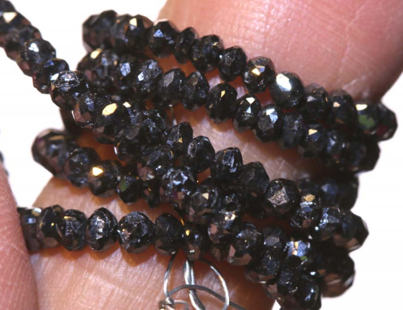 22.50 CTS METALLIC BLACK FACETED DIAMOND STRAND SD-303