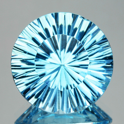 Splendid!! 2.98 Cts Natural Sky Blue Topaz 9mm Round Concave Cut Brazil
