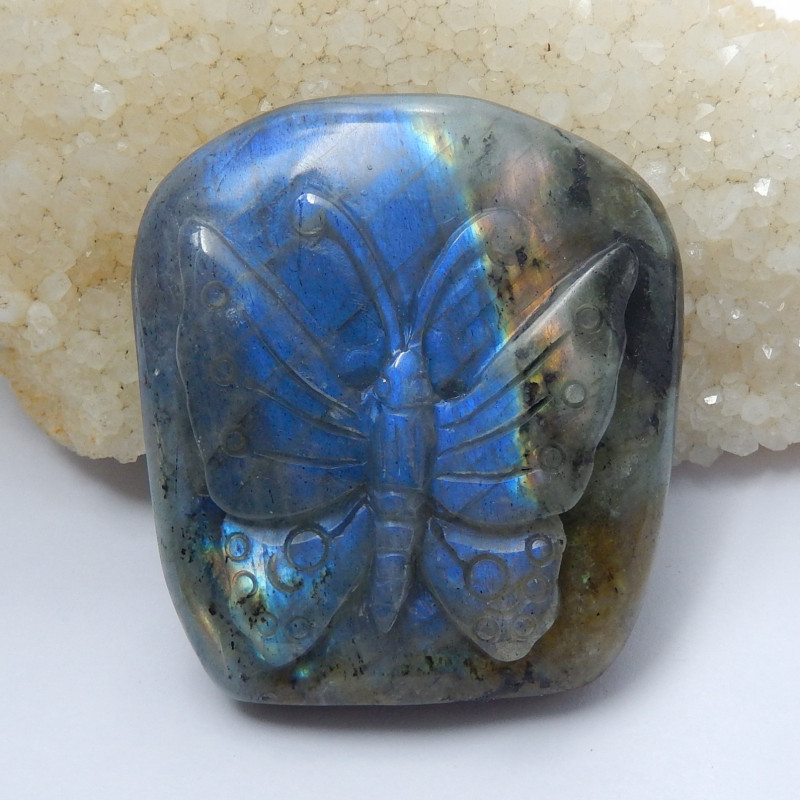 Hand Carved Butterfly ,Labradorite Cabochon ,Labradorite Carving B