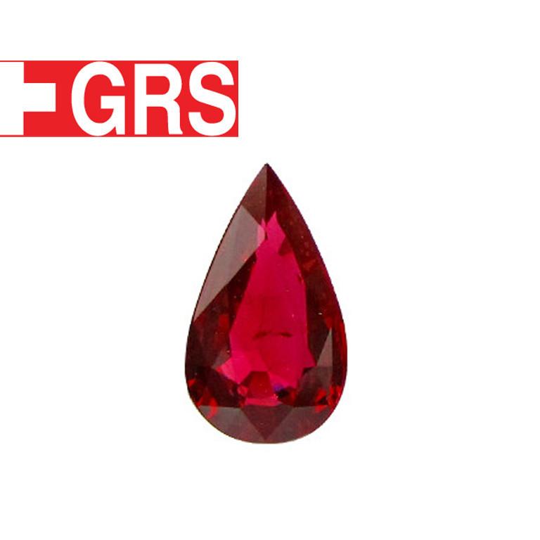 1.15 ct Pear Shape Ruby  (Fiery Red) - GRS Certified