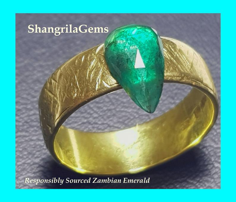 1.28ct 10.8mm Rose cut drop shape Emerald from Zambia