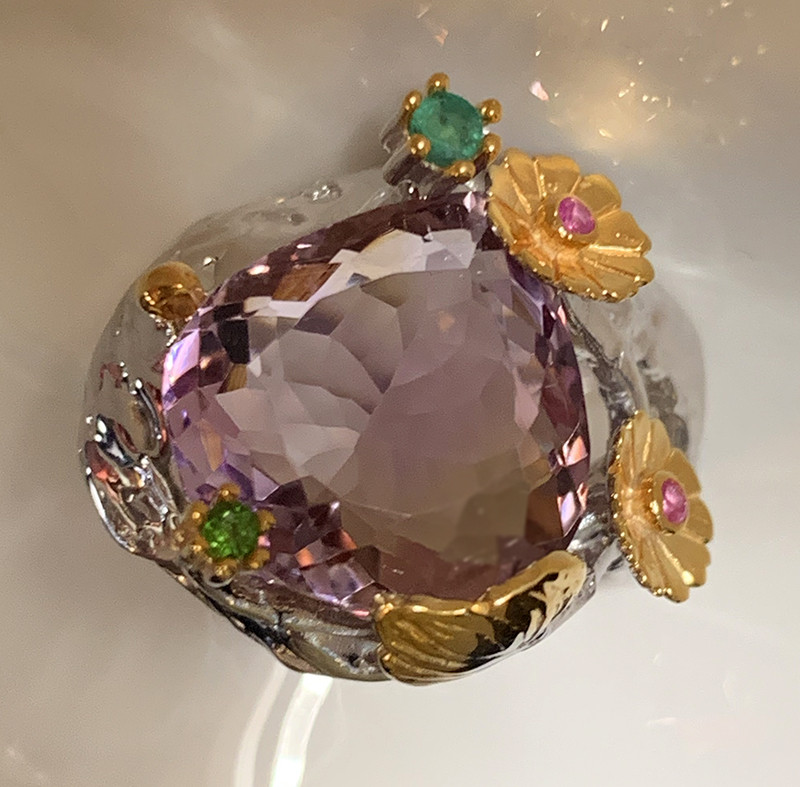 Sweet Garden Ametrine Diopside Ruby Gold and Silver Ring Size 8 Gorgeous