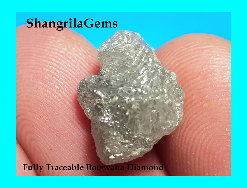 14.2mm 8.69ct Conflict free Natural silver grey rough diamond