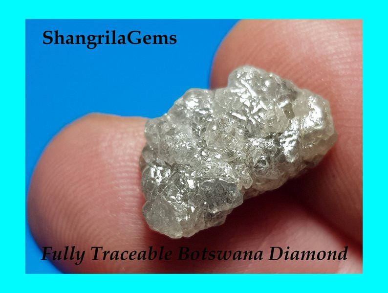 16mm 10ct Conflict free Natural silver grey rough diamond