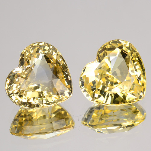 ~PAIR~ 3.12 Cts Unheated Natural Yellow Sapphire Heart Cut Ceylon - Sri Lan