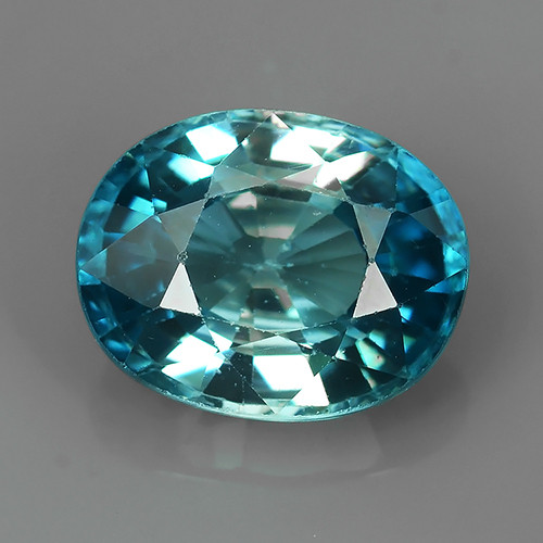 3.95 CTS AWESOME NICE OVAL-NATURAL SWEET-BLUE-ZIRCON FACET GENUINE!!