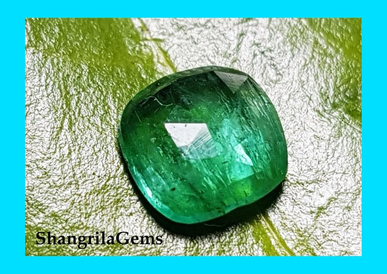 7mm 1.12ct rose cut Emerald from Zambia - minor oil treatment 7 by 6.6 by 3
