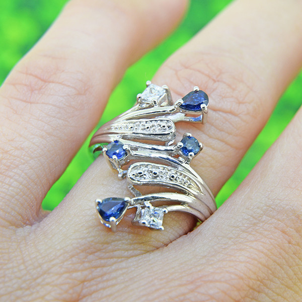Natural Blue Sapphire 925 Sterling Silver Ring  (SSR0500 )