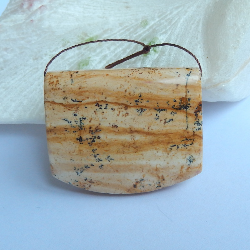 136Cts Natural Picture Jasper Pendant Bead,Gemstone Pendant Bead, jewelry C