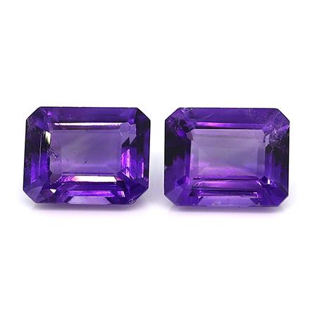 5.72 cttw Pair of Emerald Cut Amethysts (Intense Purple)