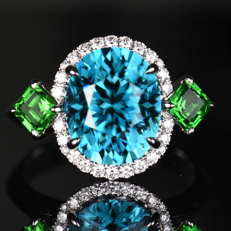 10.26CT NATURAL BLUE ZIRCON & TSAVORITE & DIAMOND 18K WHITE GOLD HA