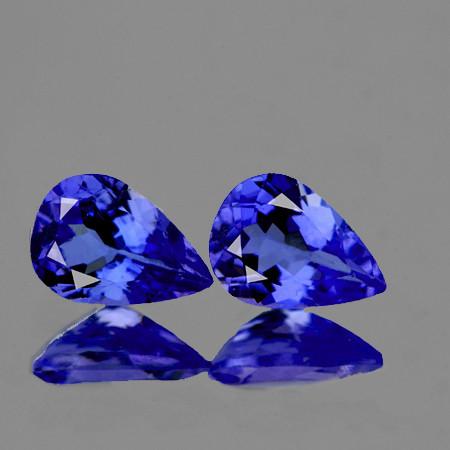 6x4 mm Pear 2 pcs Purple Blue Tanzanite [VVS]