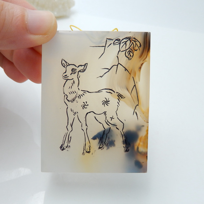 Fashion Agate Carving Deer Pendant Bead ,Lovely Agate Pendant C68
