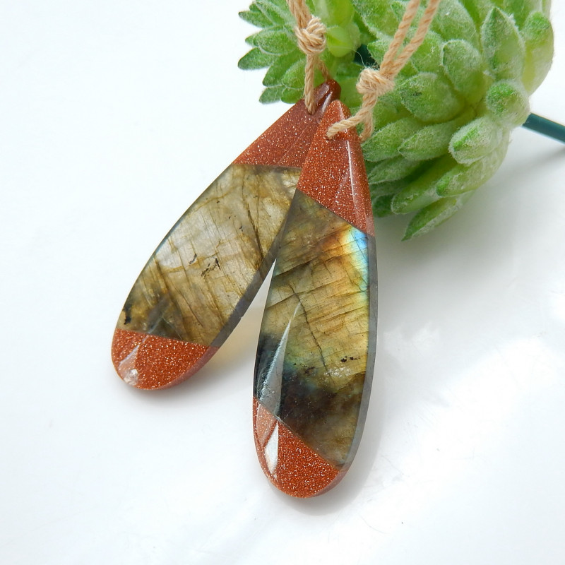 Red Sunstone , Labradorite Intarsia Earrings ,Natural Gemstone ,Healing Sto