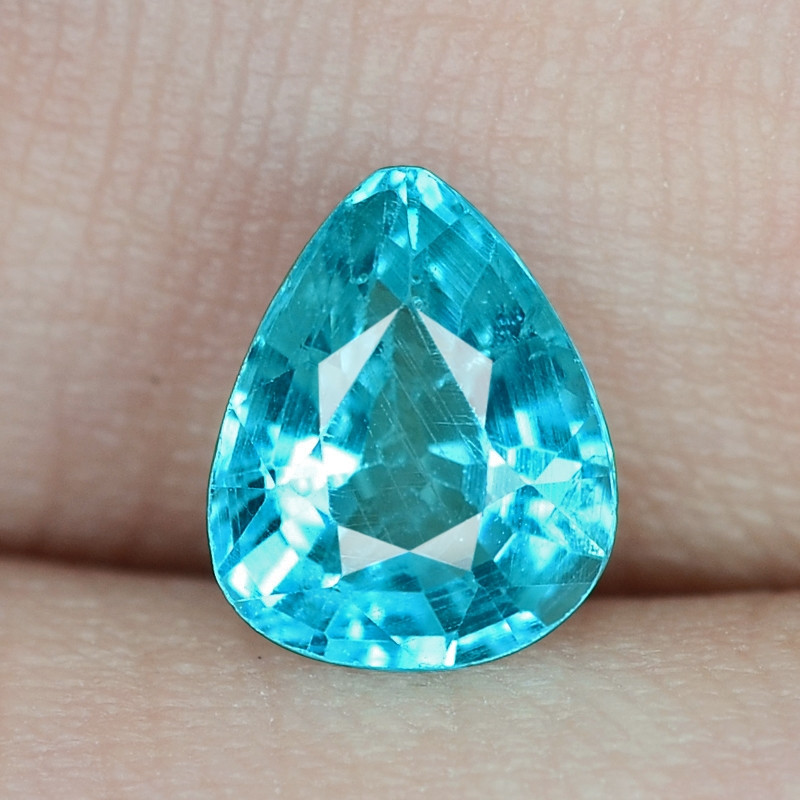 1.36 Cts UN HEATED NEON BLUE COLOR   NATURAL   APATITE LOOSE GEMSTONE