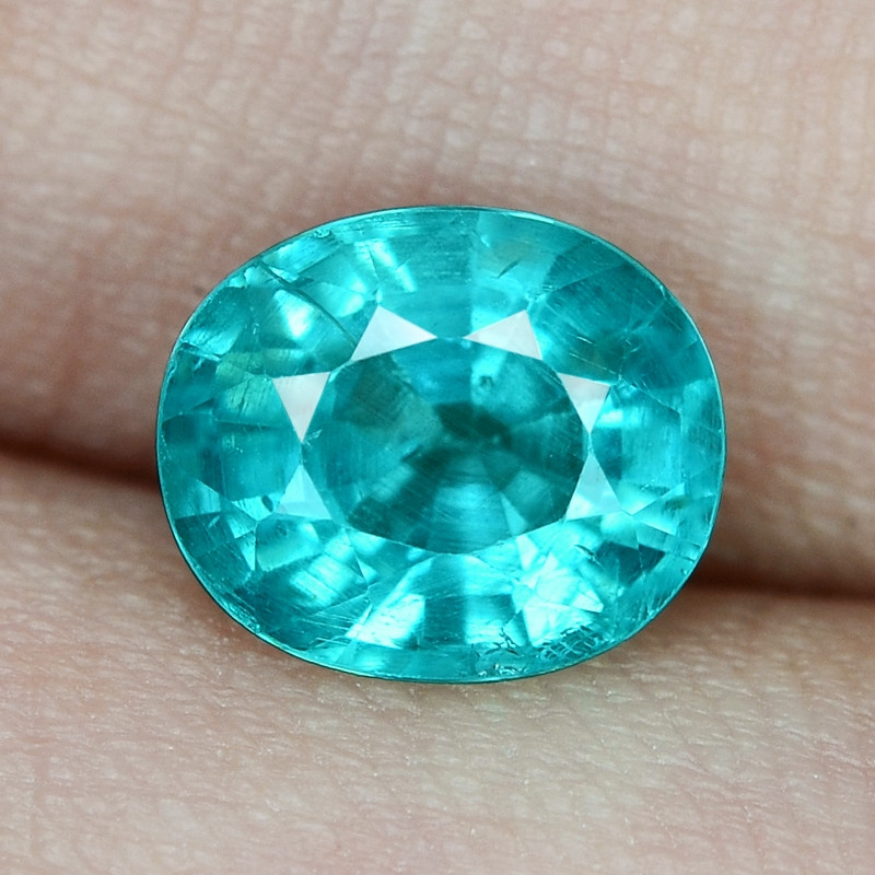 1.89 Cts UN HEATED NEON BLUE COLOR   NATURAL   APATITE LOOSE GEMSTONE