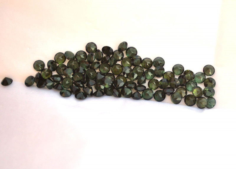 22.15 Carat Parcel of Fine 4mm Green Tourmaline Rounds