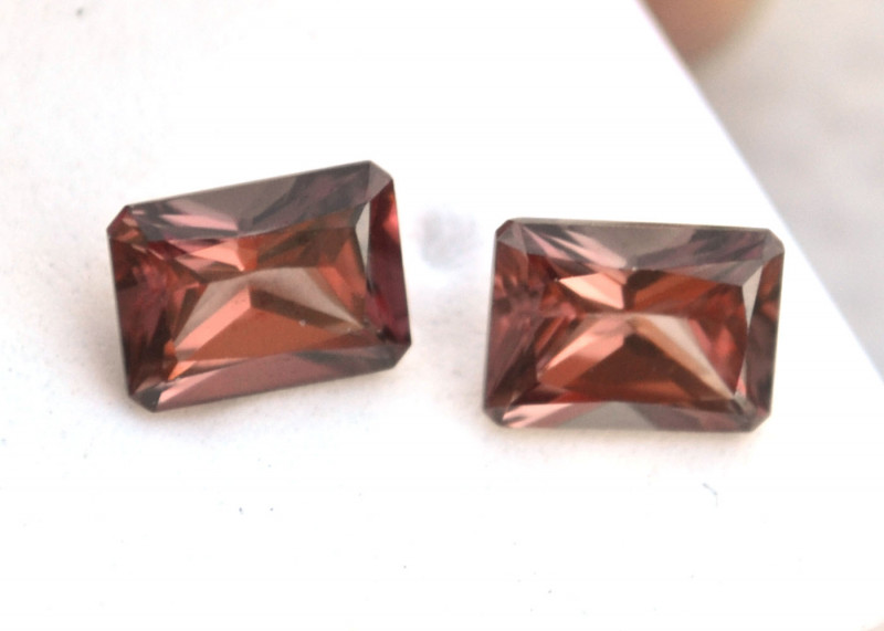 4.75 Carat Matched Pair of Fantastic Blush Red Zircons