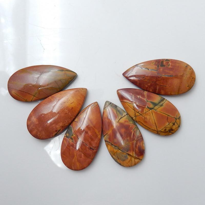 Wholesale Gemstone Oval Multi Color Jasper Cabochon Round Beads C134