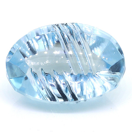 16.53 ct Fine Blue Oval Etched Topaz