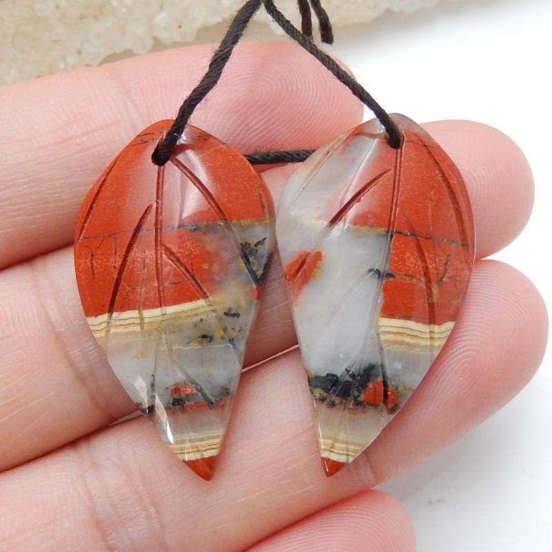 Carved Red River Jasper Earrings ,Healing Stone ,Summer Gemstone C145
