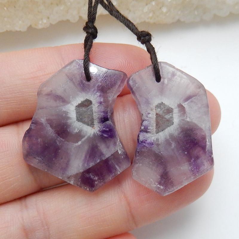Summer Stone ,Healing Gemstone ,Nugget Earrings ,Purple Amethyst Earrings C