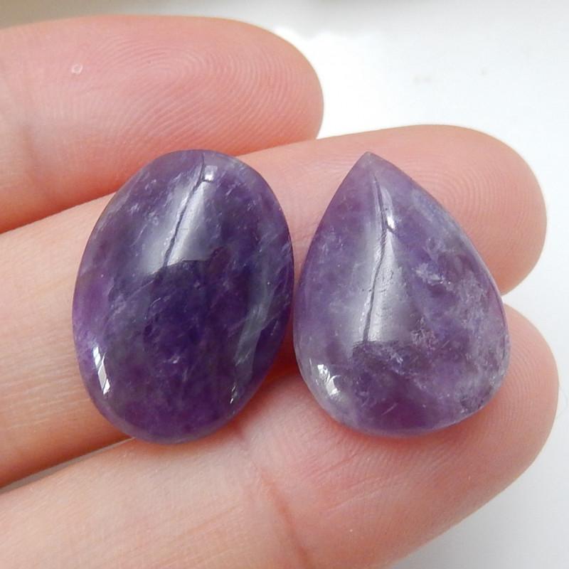 2pcs Amethyst Cabochons ,Handmade Gemstone ,Lucky Stone C159