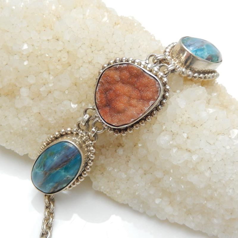 New Design crystal, Blue Opal Sterling Silver 925 Handmade Bracelet J0175
