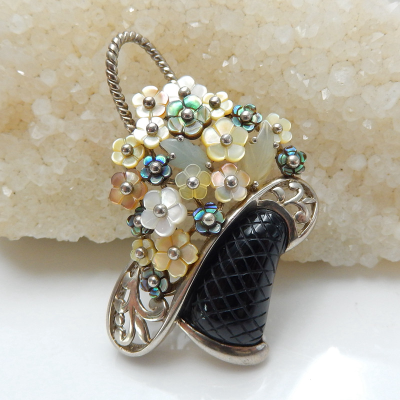 Shell Nephrite Jade Obsidian Flower baskets Silver Pendant J0167