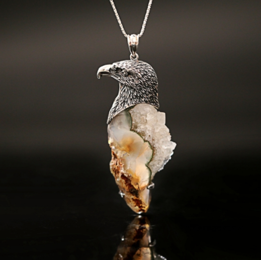 New Design Natural Stone Quartz 925 Sterling Silver Pendant J0134