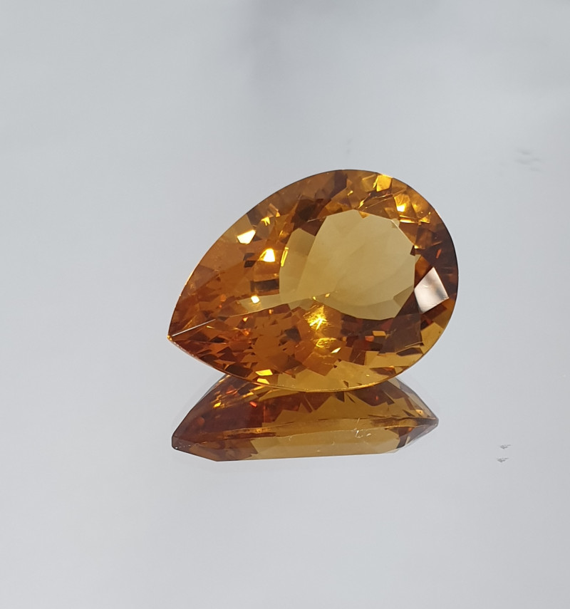 Big Dark Citrine Faceted Pear Drop  18.68ct( SKU 17)