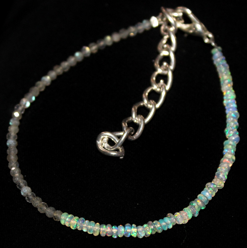 11 Crt Natural Ethiopian Opal & Labradorite Beads Thin Bracelet 163
