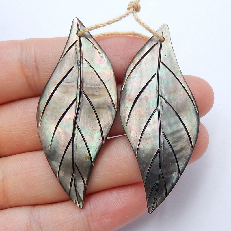New design Gemstone Shell carved leaf shaped earrings beads H4576