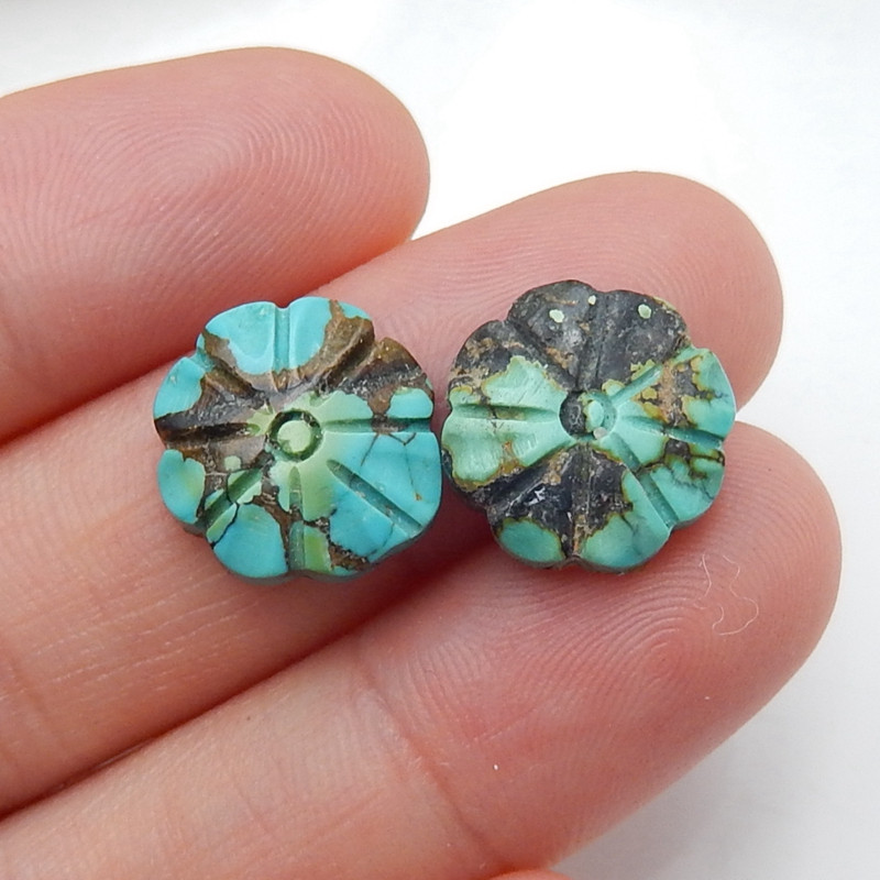 2 pcs Turquoise Carved Flowers Cabochon Pairs, 13x4mm H4437